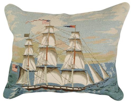 Ship at Full Mast Mixed Stitch Pillow