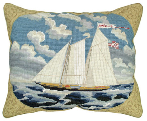 Red and White Sailboat Needlepoint Pillow