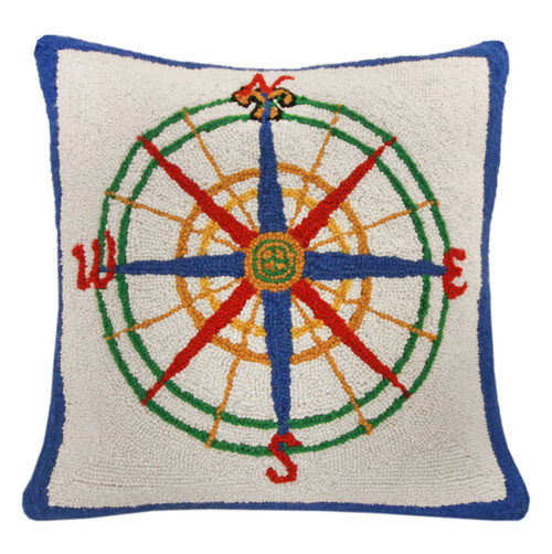 Compass Hooked Pillow