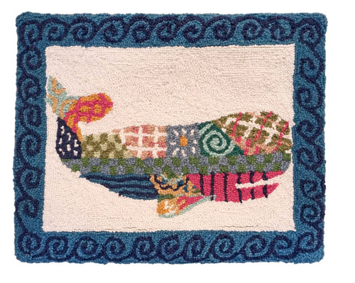 Patchwork Sperm Whale Hooked Pillow