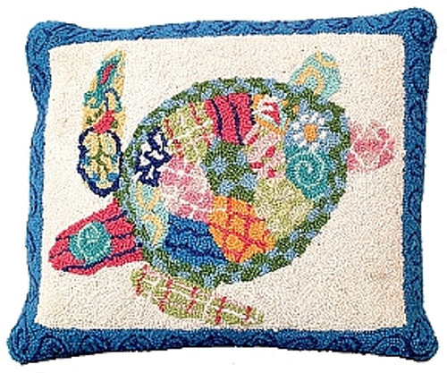 Patchwork Ocean Hooked Wool Rug
