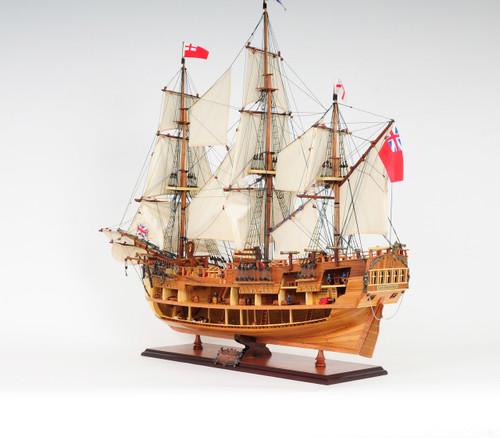 "HMS Endeavour Open Hull Model Ship - 33.5"""