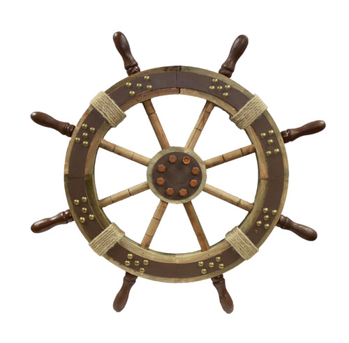 Decorative Wooden Ship Wheel with Studs - 24""