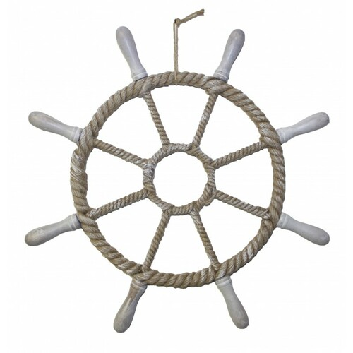 Decorative Rope Wrapped Ship Wheel -  Detachable Spokes - 26""