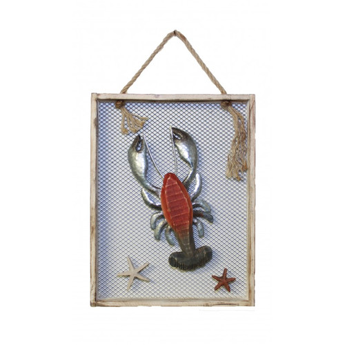 "Wood and Metal Lobster in Wooden Frame 12"" x 16"""