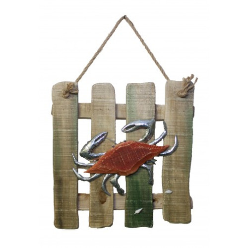 """Wood and Metal Crab Plaque 14"""" x 14"""""""