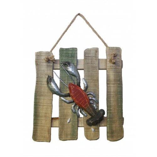 "Wood and Metal Crab and Lobster Plaques - Set of 2 -  14"" x 14"""