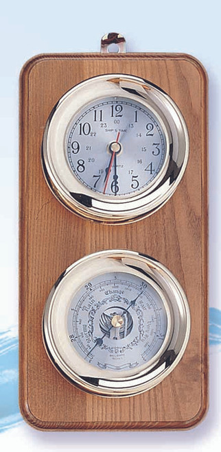 (225-2) Deluxe Brass Clock and Barometer Weather Station with Wooden Base