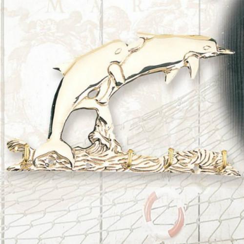 "(GH-172) 7.5"" Brass Dolphin 4 Hook Key Hanger"