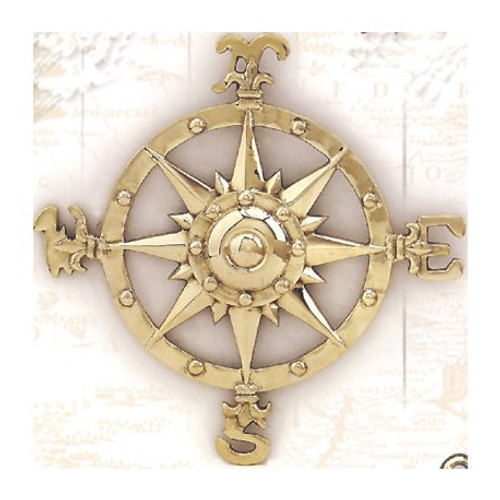 "(BW-616) 8"" Brass Compass Rose Wall Plaque with Polished Finish"