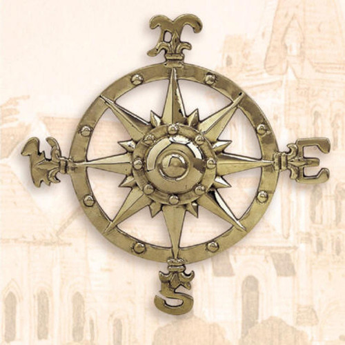 """Compass Rose Wall Plaque  - Aluminum  with Antique Brass Finish - 12"""""""