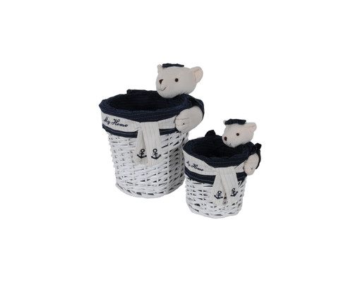Rectangular Willow Baskets with Bear Design - Set of 5