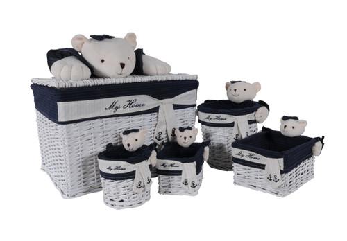 Rectangular Willow Baskets with Bear Design - Set of 5