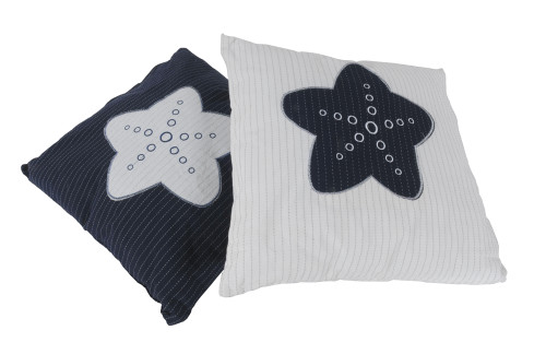 White Pillows with Blue Star - Set of 2