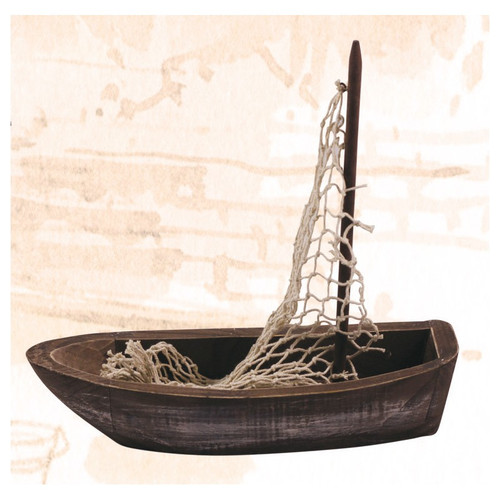 Wooden Fishing Boat with Sail