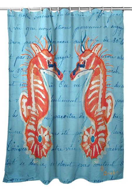 Coral Seahorse Shower Curtain