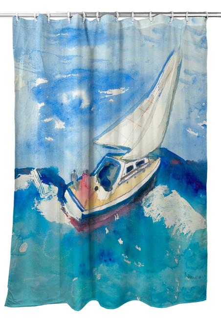 Betsy's Sailboat Shower Curtain