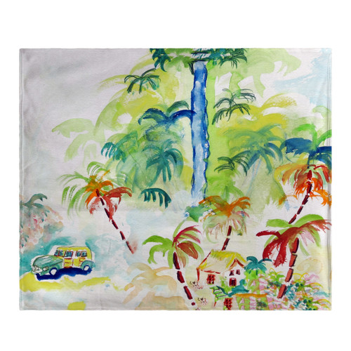 Colorful Palms Fleece Throw