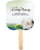 Divine Cardstock Memorial Church Fans With Wooden Handle front no photo