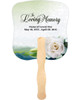 Divine Cardstock Memorial Church Fans With Wooden Handle back no photo