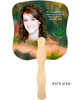 Floral Cardstock Memorial Church Fans With Wooden Handle back photo