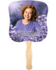 Lilac Cardstock Memorial Church Fans With Wooden Handle front photo