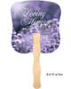Lilac Cardstock Memorial Church Fans With Wooden Handle back