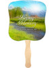 Tranquil Cardstock Memorial Church Fans With Wooden Handle front