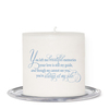 Blue Florals Small Wax Memorial In Loving Memory Candle back