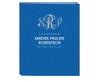 Glitter Triple Monogram Linen Cover Guest Book