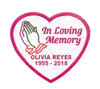 Personalized Praying Hands Heart Embroidered In Memory Of Patch