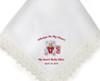 Teddy Lace Trim Ladies Embroidered Personalized Handkerchief closeup