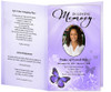 lavender Butterfly Funeral Program Template