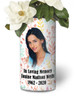 In Loving Memory Memorial Photo Flower Vase - Pastel Leaves