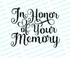 In Honor Of Your Memory Funeral Program Title