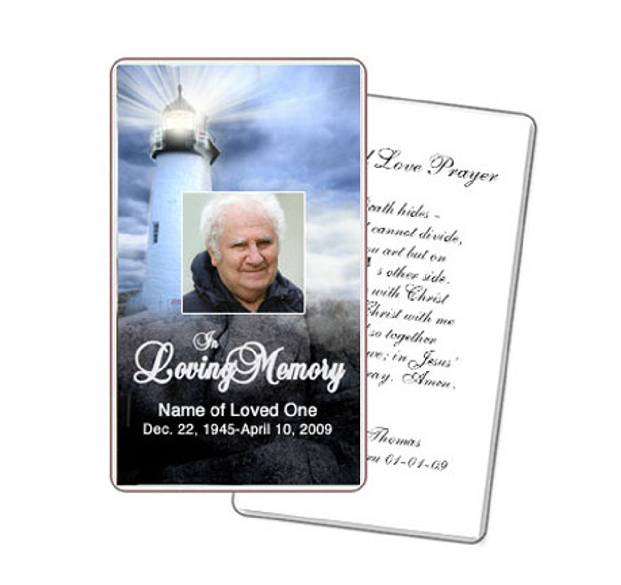 Lighthouse Diy Prayer Card Template Memorial Prayer Cards