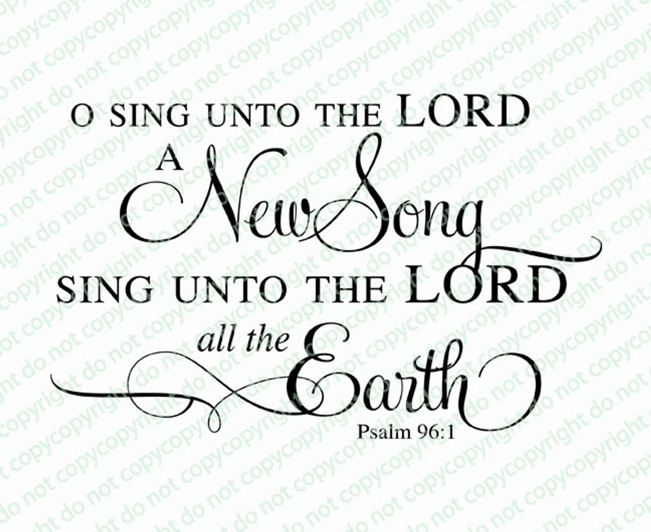 Sing Unto The Lord Bible Verse Word Art