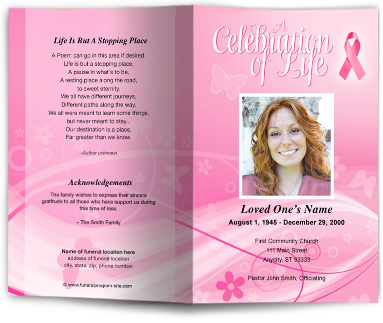 awareness funeral program template diy funeral programs