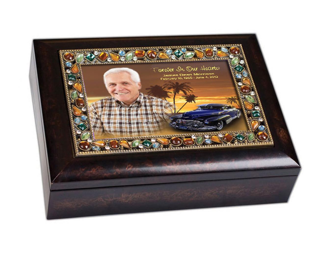 Classic Car Jewel In Loving Memory Memorial Keepsake Box