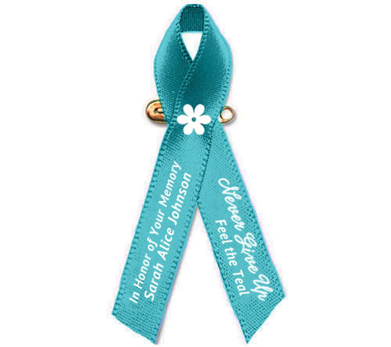 Ovarian Cancer Ribbon Teal Cancer Ribbon