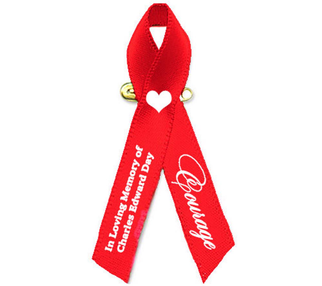 Custom Red Ribbon WATERPROOF Heart and Stroke Laptop Sticker