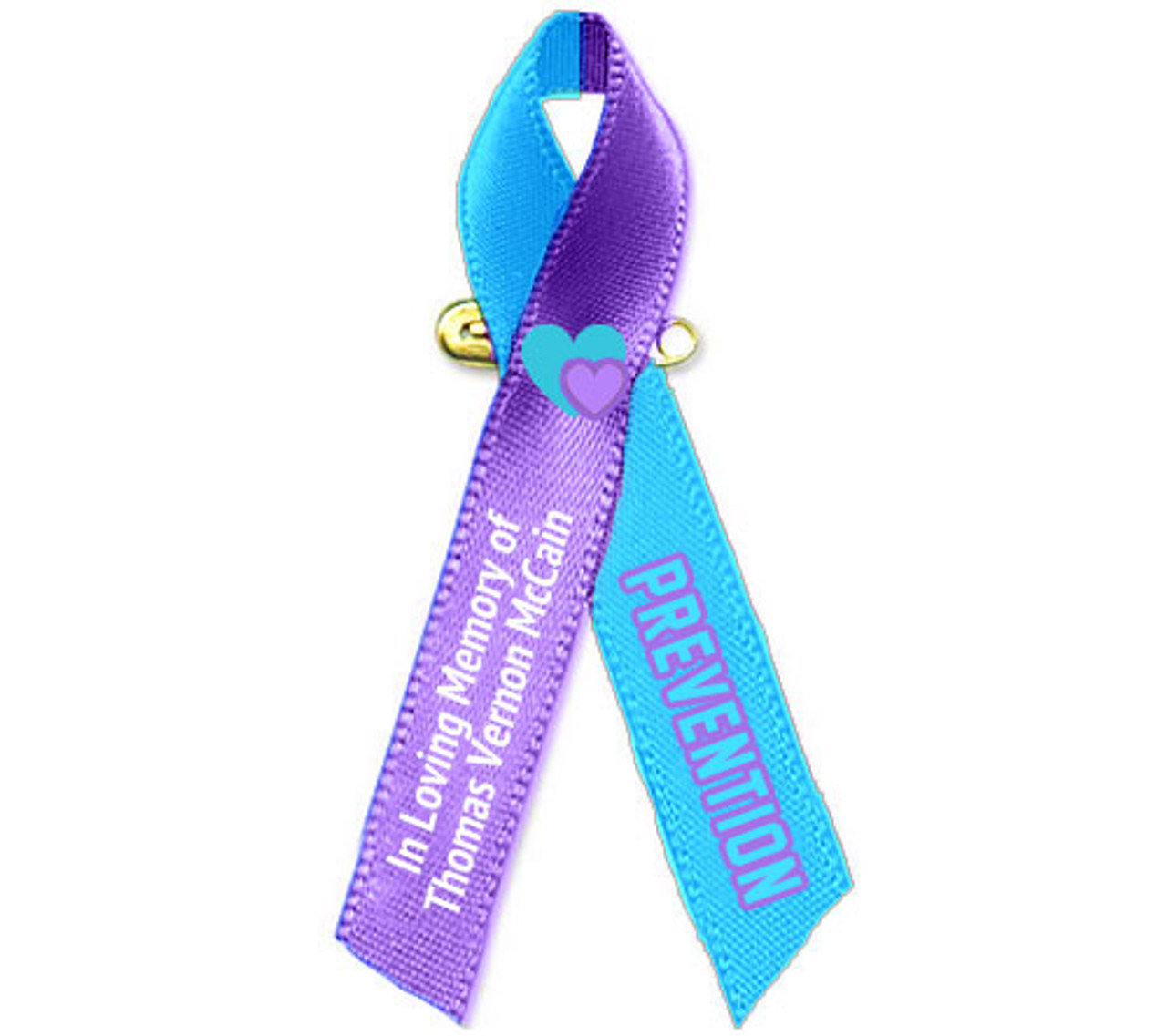 Purple /& Teal support ribbon charm keychain Awareness for Suicide Prevention