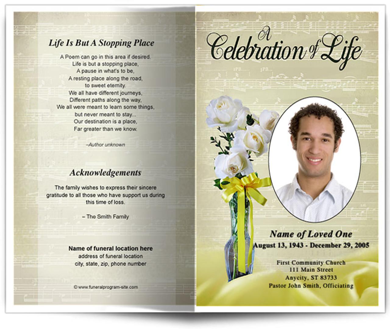 vivace funeral program template diy funeral programs