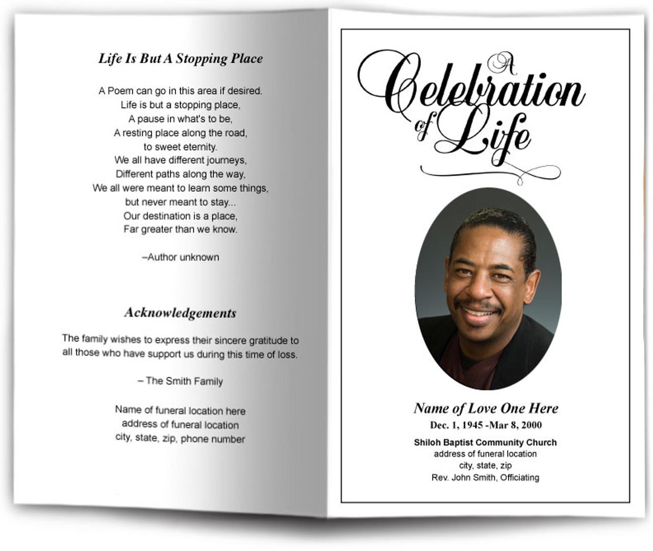 Classic Funeral Program Template Diy Funeral Programs