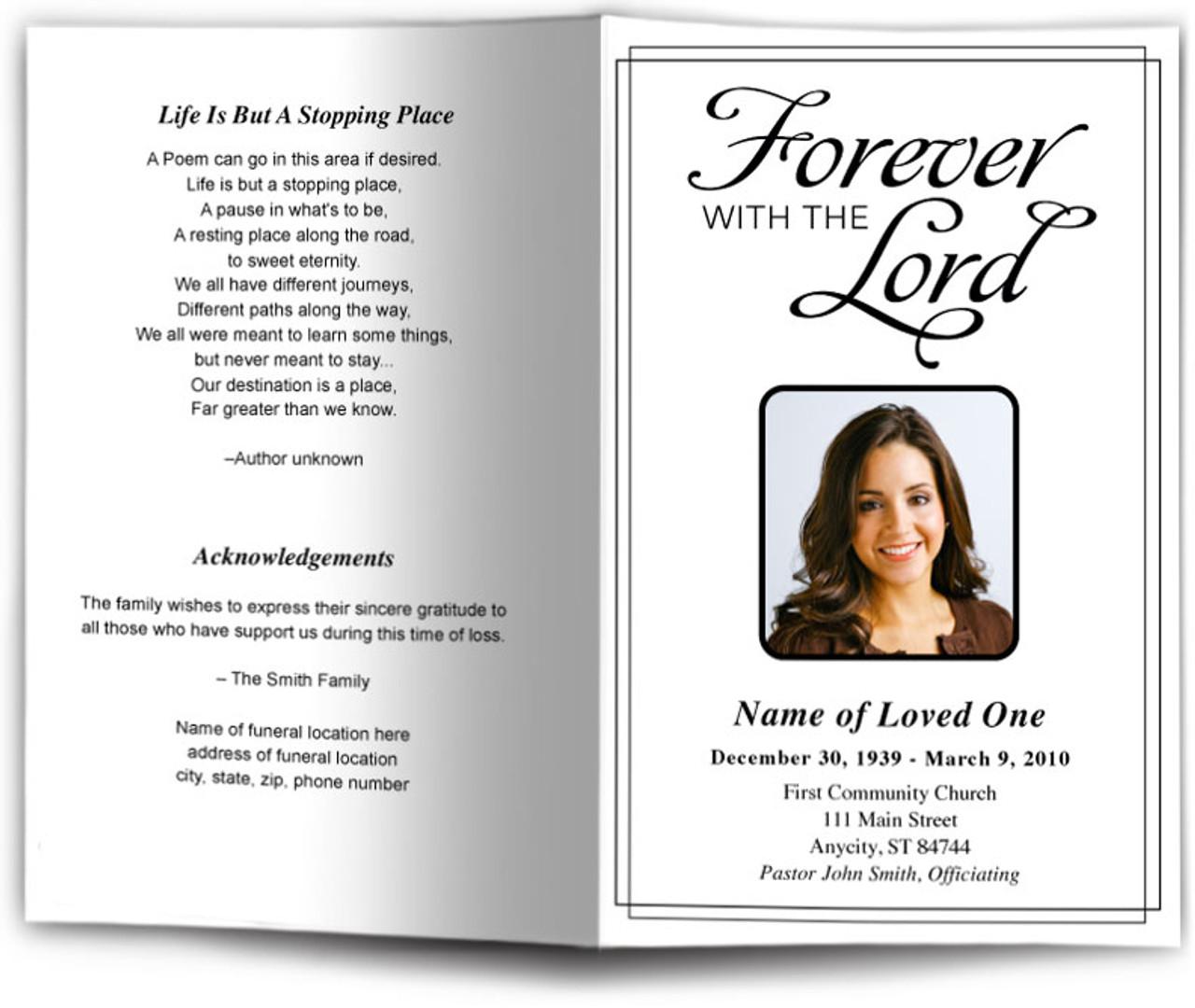 forever funeral program template diy funeral programs