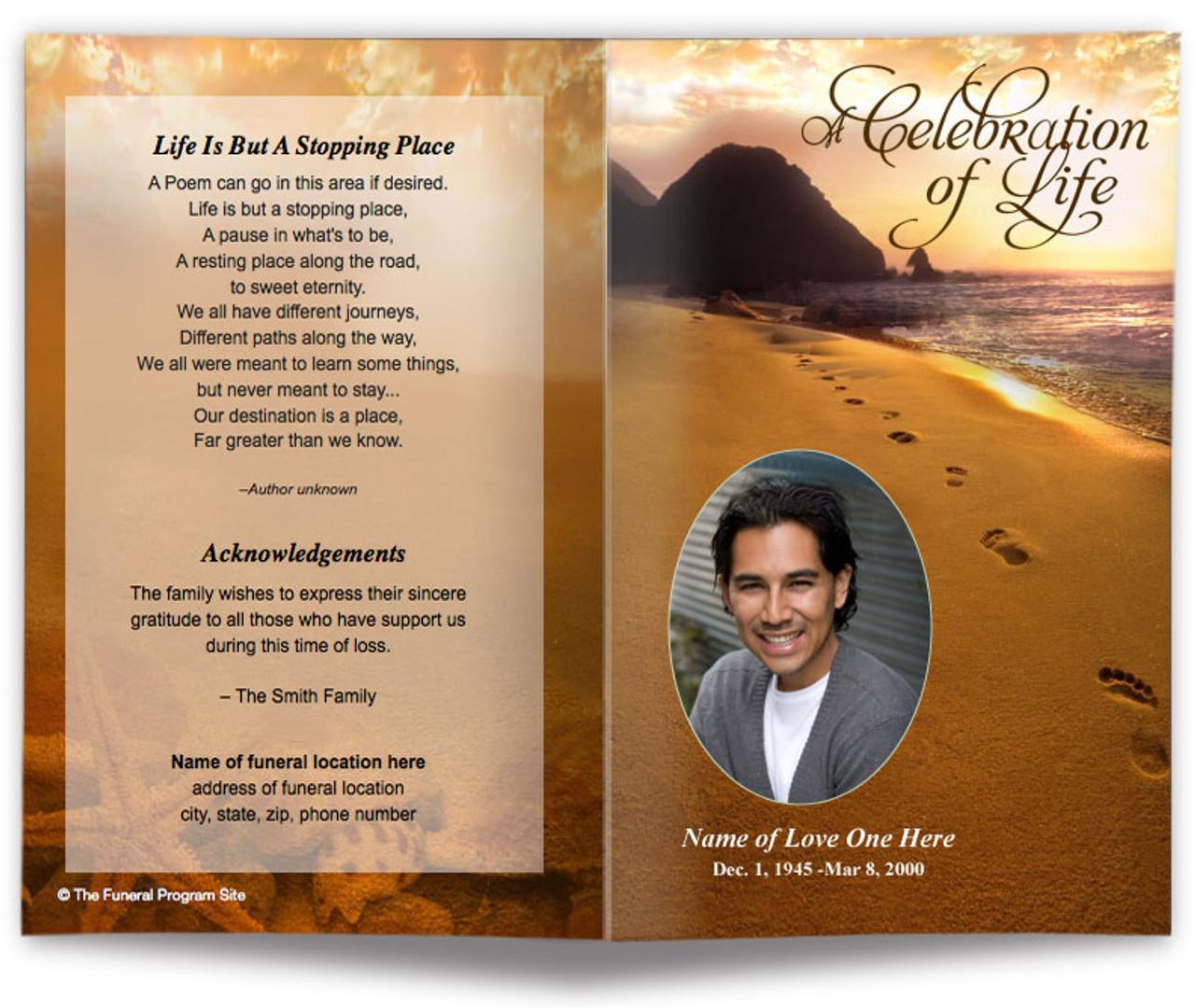 footprints funeral program template diy funeral programs