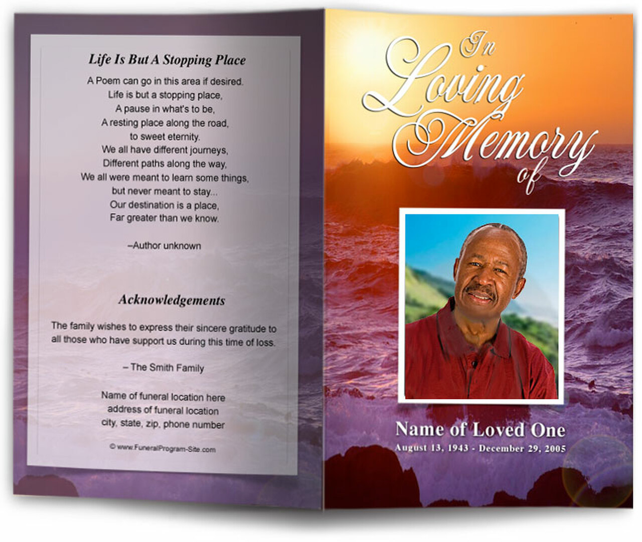 twilight funeral program template diy funeral programs