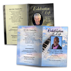 Funeral Order of Service Programs Musical Background Designs