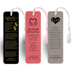 Leather Like Memorial Bookmarks With Poem