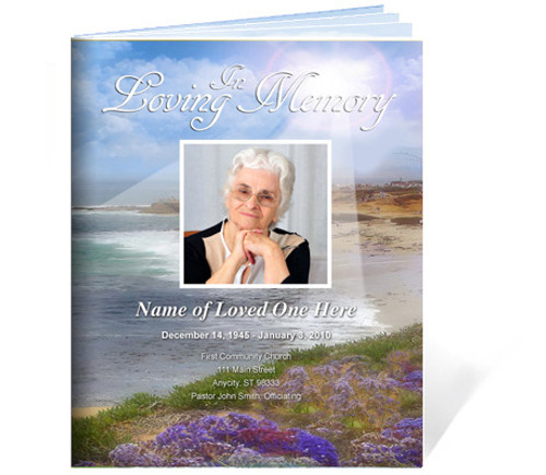 Seascape Funeral Booklet Template (Legal Size)